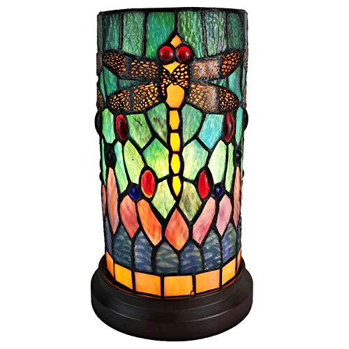 Amora Lighting Tiffany Style Accent Lamp 10″ Tall Stained Glass Yellow Red Dragonfly Floral Vintage Antique Light Decor Nightstand Living Room Bedroom Gift AM270ACCB, Multicolor,Medium