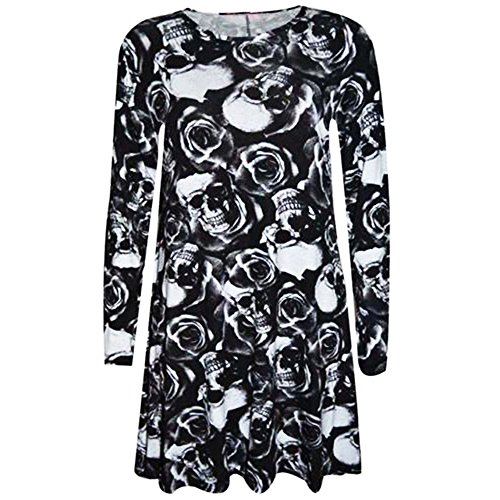 Halloween Dresses for Women,Long Sleeve Pumpkin Devil Print Party Mini Dress ANJUNIE Halloween Costumes(Black 2,L) -