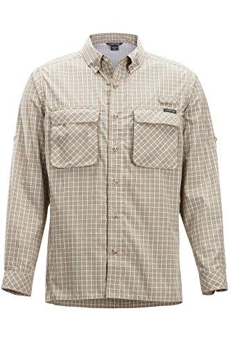 ExOfficio Men's Air Strip Check Plaid Long Sleeve Button Down Shirts, Lt Khaki, -
