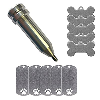 Cricut Maker Etching/Engraving Tool by Chomas Creations and Stamping Blanks: Dog Bone and Dog Tag with Paw