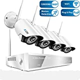 Wireless Security Camera System, A-ZONE 4CH 960P NVR with 4Pcs 960P HD Indoor Outdoor WiFi IP Cameras ,65ft Night Vision, Remote View by IOS or Android App,No Hard Drive
