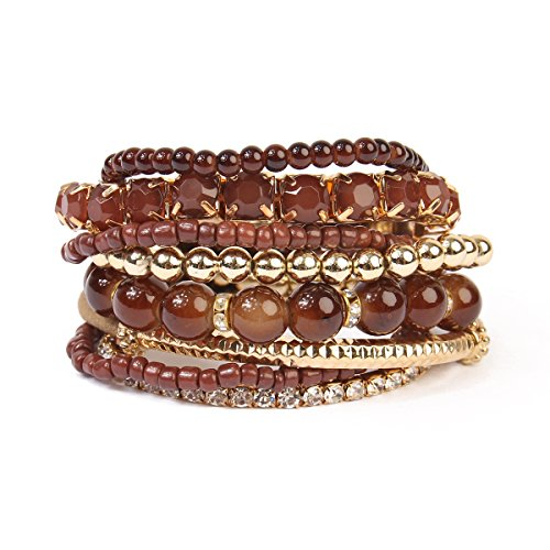 Riah Fashion Women's Multicolor Beaded Stretch Bracelet