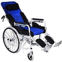 HETAO Lightweight Manual Wheelchai Folding Belt Seated Semi-Recumbent,Aluminium Folding Full Elderly Reclining Portable Mesh Breathable