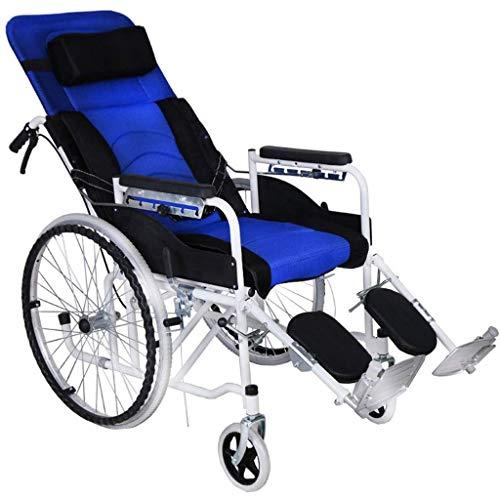 Wheelchair Folding Belt Seated Semi-Recumbent,Aluminium Folding Full Elderly Reclining Portable Mesh Breathable Manual Travel Car,Blue