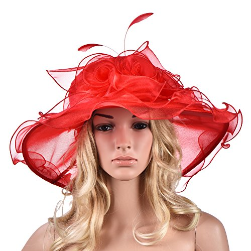 Lawliet Femmes Fleurs Derby A341 Large Kentucky Chapeau De Soleil Robe Rouge À Ras Bord Église