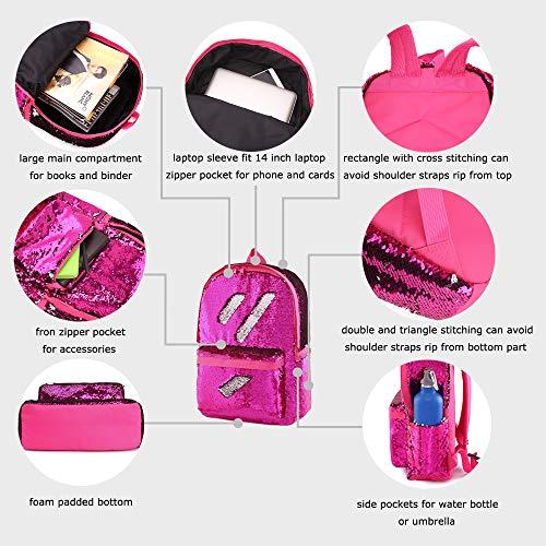 9a32bbf956 Flip Glitter Mermaid School Bag Magic Reversible Sequin Backpack for Girls