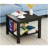 Cloudro Coffee Table,Double Layer Storage Living Room Sofa Modern End Table Bedroom Night Table,Indoor Outdoor Use Backyard Porch Garden Poolside Balcony Furniture