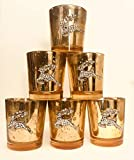 Candleholders Christmas Centerpiece Gold Mercury Glass Mottled Reindeer Crystal Candleholders, Set of 6, 3 x 2 inches
