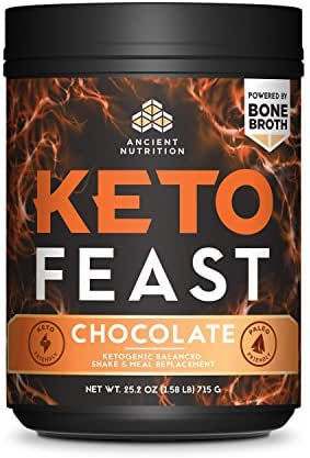 Ancient Nutrition KetoFEAST (15 Servings (Large Canister), Chocolate)