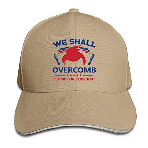 Trump We Shall Overcomb Natural Adjustable Snapback Caps Unisex Sandwich Hats