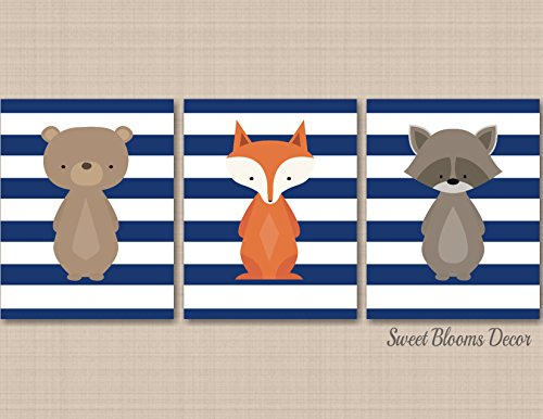 Woodland Nursery Wall Art Navy Gray Bear Fox Raccoon Wall Art Modern Baby Boy Forest Animals Kids Room Woodland Baby Gift Woodland Baby Shower-UNFRAMED 3 PRINTS (NOT CANVAS) C449