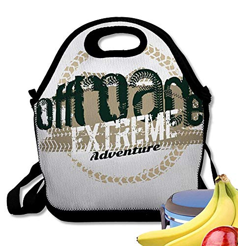 - Insulated Neoprene Lunch Bag Off-Road Logo Extreme Competition Emblem Off-Roading SUV Adventure and Car Club Eleme Reusable Soft Lunch Tote for Work and School