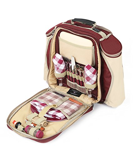 Greenfield Collection Deluxe Mulberry Red Picnic Backpack Hamper for Two People
