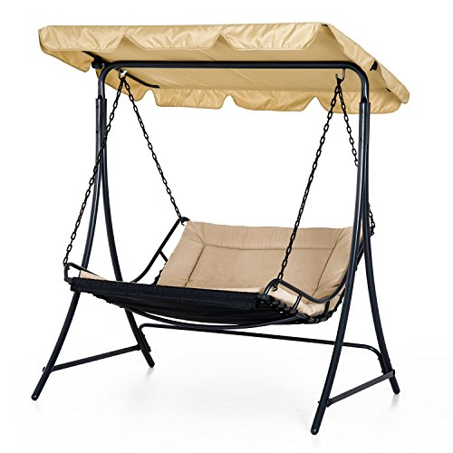 Cheap  Outsunny Covered Hanging Outdoor Patio Swing Hammock Chair Bed Lounger Canopy