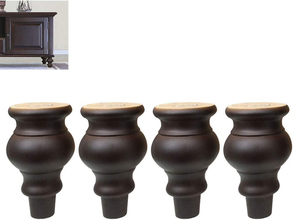 4 Piece European Furniture Leg, Solid Wood Sofa Table, TV Cabinet/Bedside/Coffee Table Foot - Furniture Riser Support Wood Accessories.