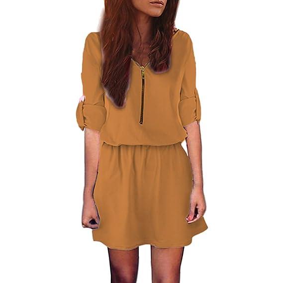 Faldas para Mujer, BBestseller Elegante Vestido de Color sólido de Cuello v Manga Larga Camisa con Cremallera Delgada Playa Falda Vestir Mini Dress: ...