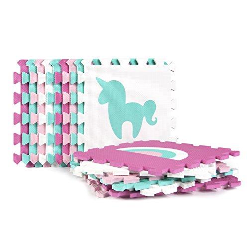 Tadpoles Baby Play Mat, Kid s Puzzle Exercise Play Mat Soft EVA Foam Interlocking Floor Tiles, Cushioned Children s Play Mat, 16pc, Unicorns and Rainbows, Pink, 50×50