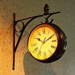 European Retro Fashion Creative Home Wall Clock Pastoral wall Clock-sided Hanging Clocks.