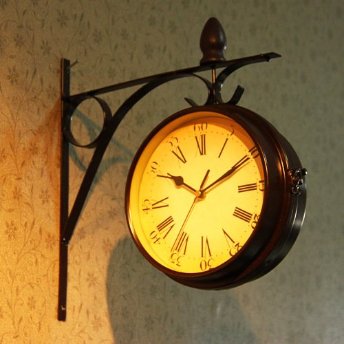 European Retro Fashion Creative Home Wall Clock Pastoral wall Clock-sided Hanging (Old Fashion Clock)