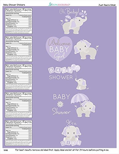 Water Bottle Labels Gray Elephant Set of 25 (Purple Elephant Baby Shower Decorations)