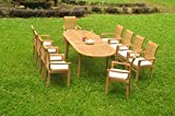 10 Seats 11 Pcs Grade-A Teak Wood Dining Set: 94″ Double Extension Oval Table And 10 Mas Stacking Arm Chairs #WHDSMS24 For Sale