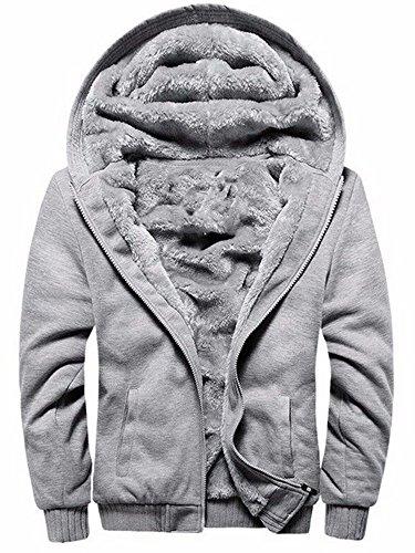 Fur Lined Bomber Jacket - TOLOER Men's Pullover Winter Fleece Hoodie Jackets Full Zip Warm Thick Coats Grey Medium