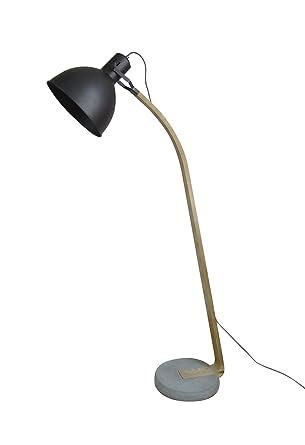 Lámpara de pie estilo industrial metal negro - madera y ...
