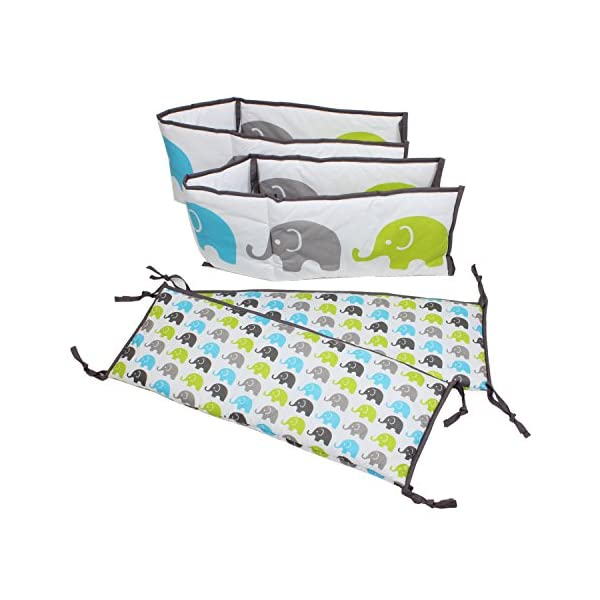 Bacati Elephants Bumper Pad, Aqua/Lime/Grey