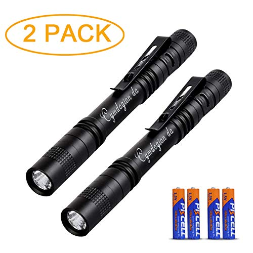 Pen Flashlight - 3 Modes Mini LED Flashlight, Bright Battery-Powered Pen Light with Pocket Clip for Camping and Biking, Indoor and Outdoor, Durable and Waterproof, Black (2 pack)
