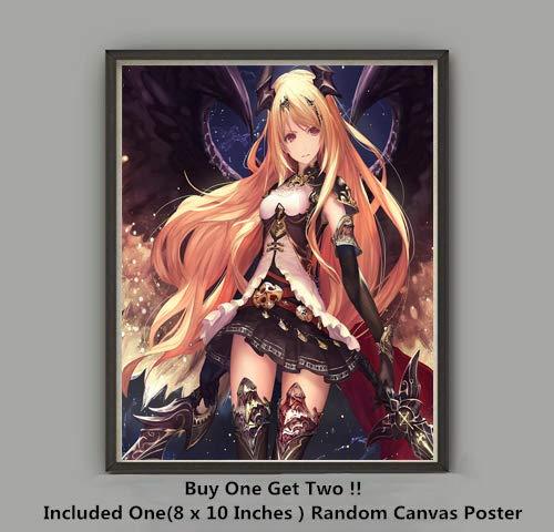 QG Art Titan Attack Bahamut Dark Night Sword Angel Olivia Anime Canvas Artwork Wall Poster,Not Included Frame