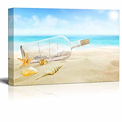 Canvas Prints Wall Art - Ship in a Glass Bottle and Starfish,Seashells on The Tranquil Beach | Modern Wall Decor/Home Art Stretched Gallery Canvas Wraps Giclee Print & Ready to Hang - 18