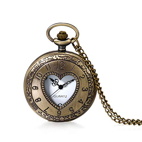 (JewelryWe Classic Retro Pocket Watch Hollow Heart Cover Arabic Numbers Dial Quartz Watch Pendant Necklace with Long Chain )