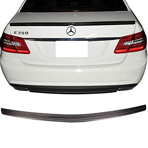 Trunk Spoiler Fits 2010-2016 Benz E-Class W212   A Style Unpainted CF Added On Lip Wing Bodykits by IKON MOTORSPORTS   2010 2011 2012 2013 2014 2015 2016