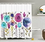 Cute Shower Curtains Dragonfly Shower Curtain by Ambesonne, Hello Summer Concept with Cute Dandelion and Dragonfly Figures Be Happy Artwork, Fabric Bathroom Decor Set with Hooks, 70 Inches, Pink Blue