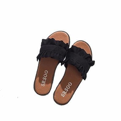 YUCH Ladies' Chaussons Baotou Boucle Sandales Élégantes Et Rugueux en Été,Black,35