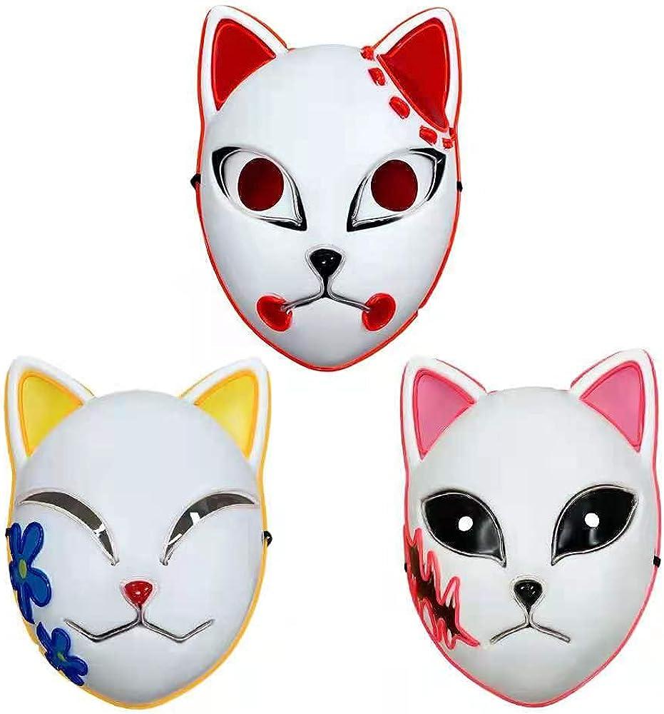 Demon Slayer Mask, LED Halloween Mask Japanese Anime Demon Slayer (3pcs)