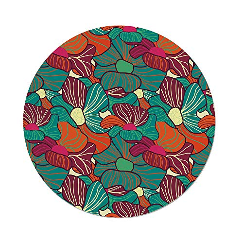 Ind Plant Food (Polyester Round Tablecloth,Floral,Flourishing Foliage Petals Plant Vibrant Color Palette Image Flower Blossom Design Decorative,Multicolor,Dining Room Kitchen Picnic Table Cloth Cover,for Outdoor Ind)