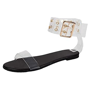 a162191956ad1 Women Clear Flat Sandal - Ladies Open Toe Ankle Strap Buckle Sandals -  Summer Casual Beach Dress...