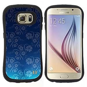"""Pulsar iFace Series Tpu silicona Carcasa Funda Case para Samsung Galaxy S6 , Modelo del papel pintado azul Flores Floral"""""""