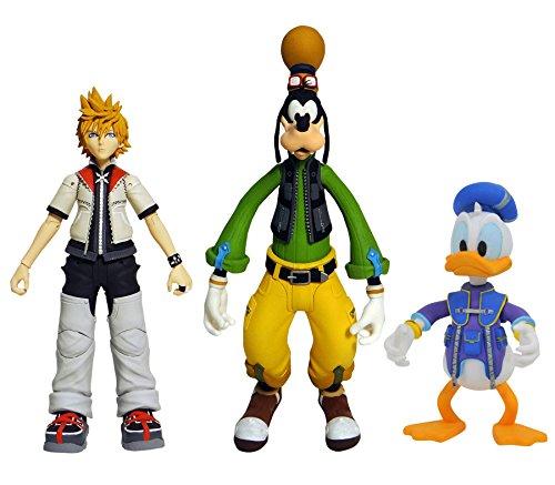 DIAMOND SELECT TOYS Kingdom Hearts Select Series 2: Roxas, Donald Duck, & Goofy Action Figure Set (Kingdom Hearts 2 Sora Figure)