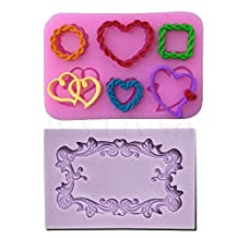 Anyana Many PHoto Frames Mirror heart love Silicone Mould Ornate Vintage fondant CAKE cupcake mold