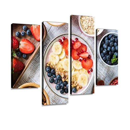 Smoothie Bowl with Banana, Strawberry, Blueberry, Granola and Pomegranate Canvas Wall Art Painting Pictures Modern Artwork Framed Posters for Living Room Ready to Hang Home Decor 4PANEL ()