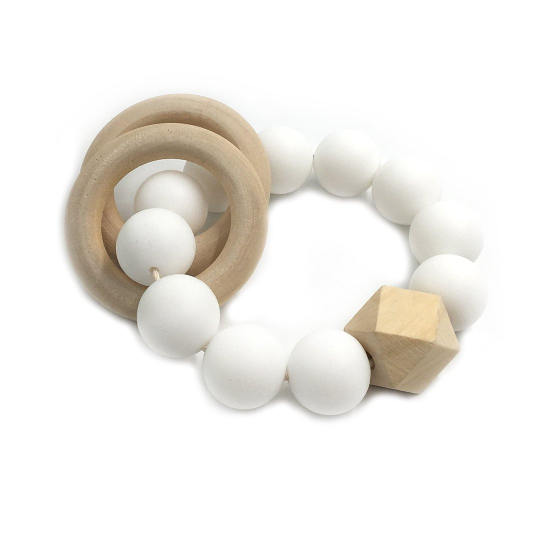 Amyster DIY Baby Teether Nursing Bracelet Food Grade Silicone Teether Wooden Teether Ring Teether Nature Safe Organic Infant Baby Bangle Teether Toys