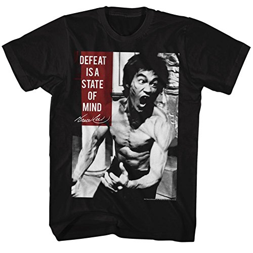 Bruce Lee Chinese Martial Arts Icon Adult T-Shirt Tee Defeat is a State of Mind Black (Bruce Lee Martial Arts Chinese Martial Arts)