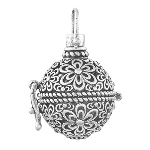 Souarts Silver Tone Color Hollow Filigree Cage Locket Pendant Flower Engraved for Baby Caller Music -