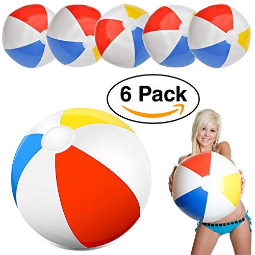Intex Glossy Panel Beach Ball Large 20'' Classic Red, Blue, Yellow & White Beachball ( 6 Pack)