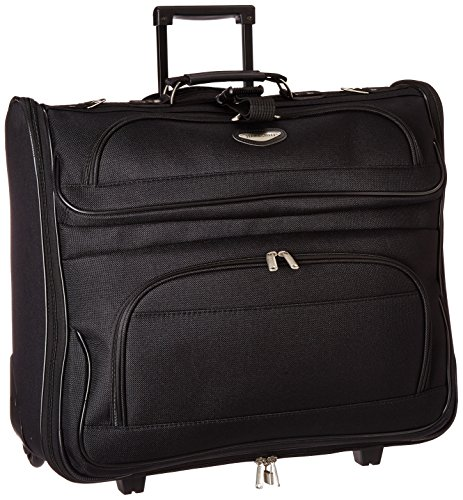 Amsterdam Rolling Garment Bag Wheeled Luggage Case - Black (23-Inch)