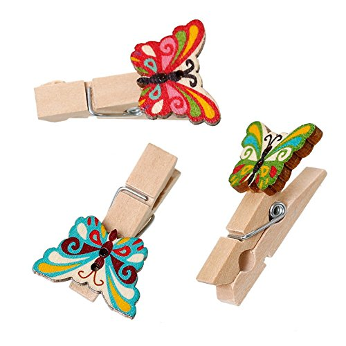 - ZARABE Wood Clothespin Clips Note Pegs At Random Butterfly Pattern 3.9cmx2.3cm 50PCs