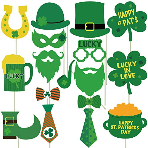 St Patricks Day Photo Booth Props Kit - No Diy Required, 27pcs - Irish Party Decorations Supplies - St. Pattys Day Party Supplies