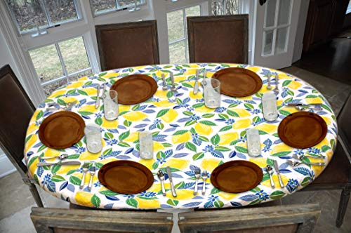 Covers For The Home Deluxe Elastic Edged Flannel Backed Vinyl Fitted Table Cover - Contemporary Lemon Pattern - Oblong/Oval - Fits Tables up to 48